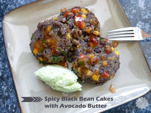 Spicy black bean cakes with avocado butter