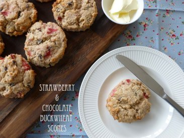 strawberry & chocolate buckwheat scones