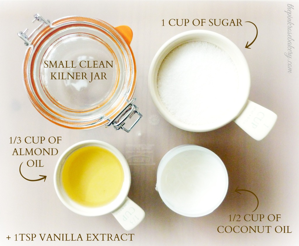 Coconut & Vanilla Sugar Scrub Ingredients - The Pink Rose Bakery