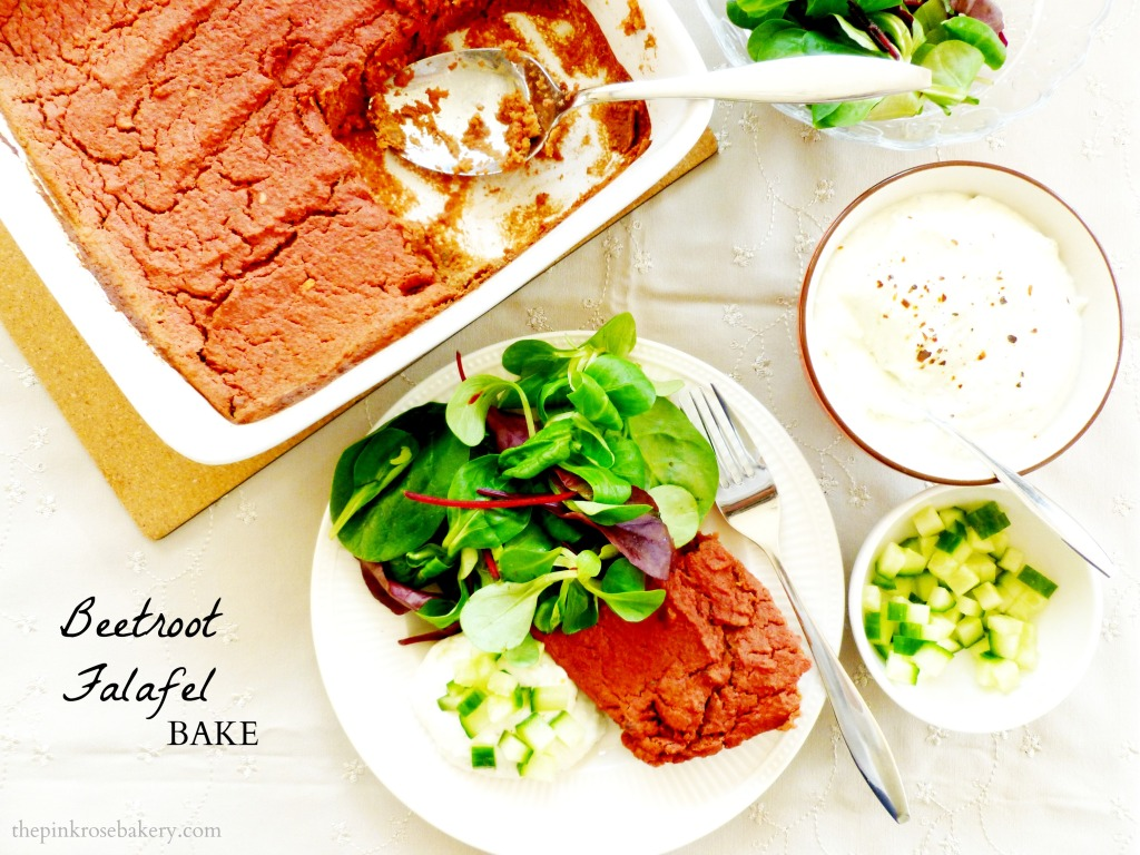 Beetroot Falafel Bake Main - The Pink Rose Bakery