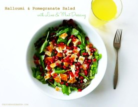 Hallomi & Pomegranate Salad with Lime & Mint Dressing 1 - The Pink Rose Bakery