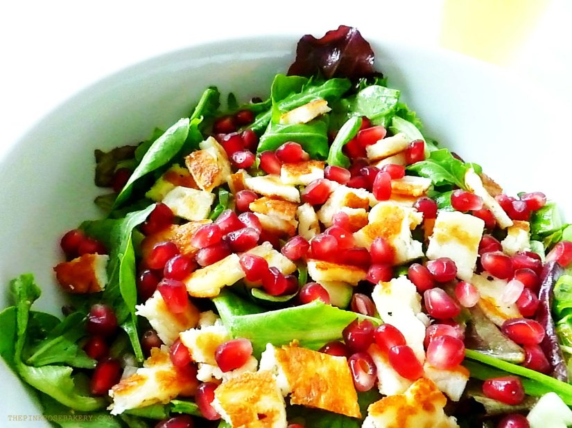 Hallomi & Pomegranate Salad with Lime & Mint Dressing 2 - The Pink Rose Bakery