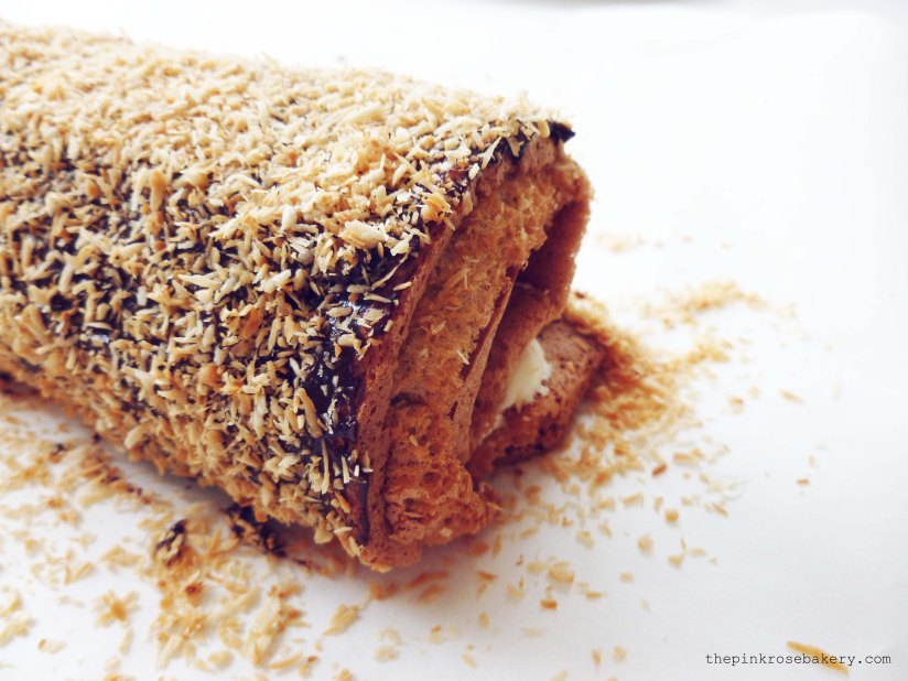 Caramel Log Swiss Roll 2 - The Pink Rose Bakery