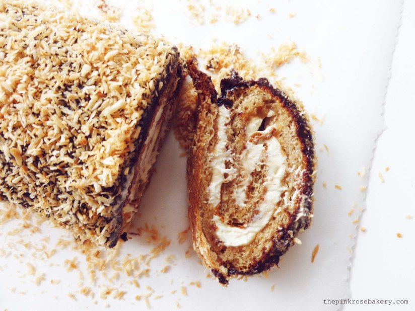 Caramel Log Swiss Roll 3 - The Pink Rose Bakery