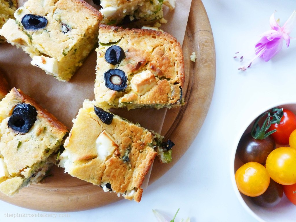 Feta, Olive & Coriander Corn Bread 1 - The Pink Rose Bakery