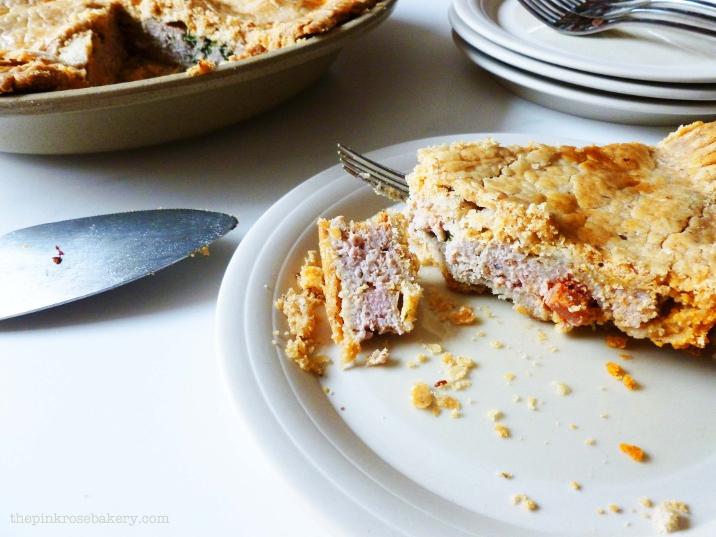 pork, spinach & chorizo pie 2 - the pink rose bakery