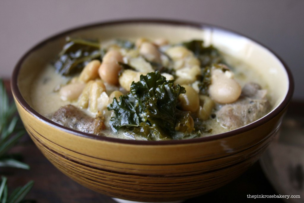 sausage, kale & bean soup 1 - the pink rose bakery