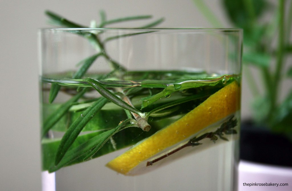 Infused water - lemon cucumber rosemary thyme mint 1 | The Pink Rose Bakery