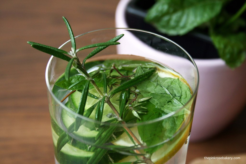 Infused water - lemon cucumber rosemary thyme mint 3 | The Pink Rose Bakery