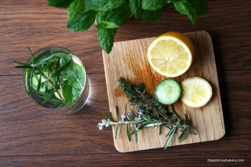 Infused water - lemon cucumber rosemary thyme mint 4 | The Pink Rose Bakery