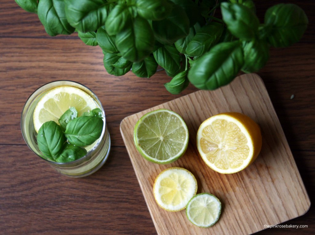 Infused water - lemon lime basil 2 | The Pink Rose Bakery