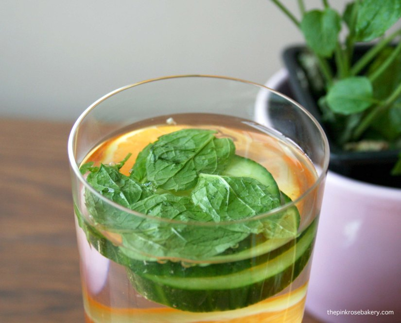 Infused Water - Orange Cucumber Mint | The Pink Rose Bakery