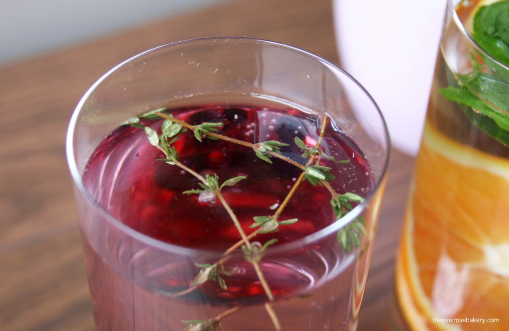 Infused Water - Pomegranate Blackcurrent Thyme | The Pink Rose Bakery