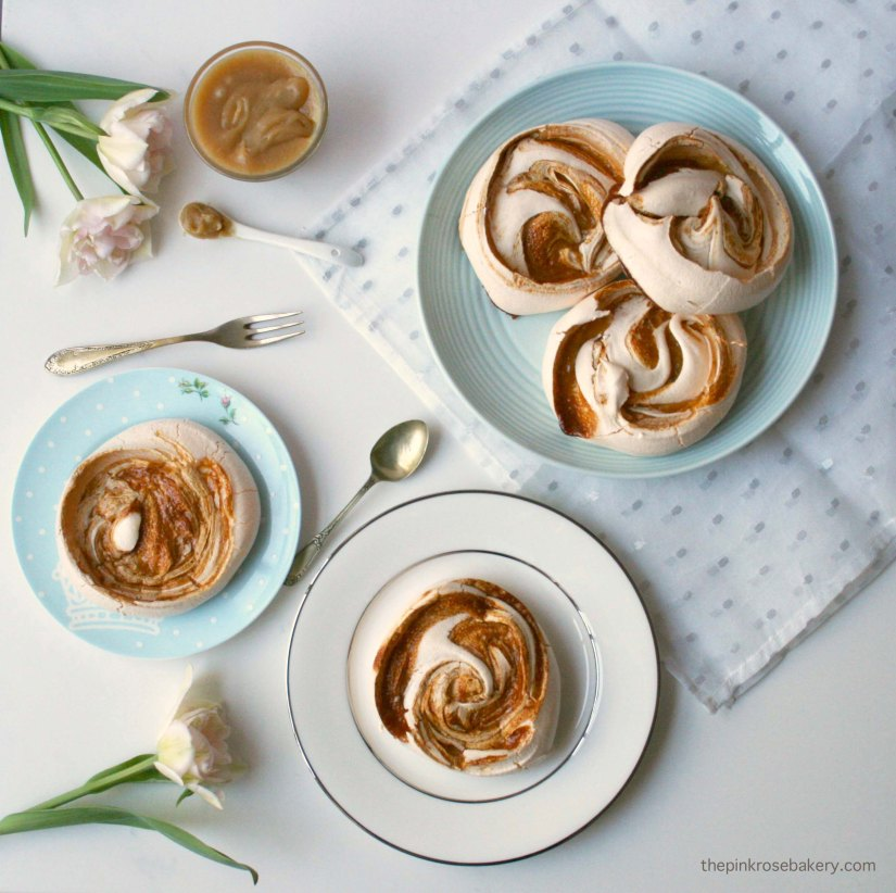 Salted Honey Caramel Meringues (dairy free & gluten free) | The Pink Rose Bakery
