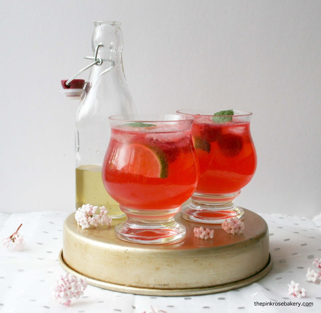 Raspberry Gin Cocktail - mint syrup, muddled raspberries, gin and tonic water | The Pink Rose Bakery