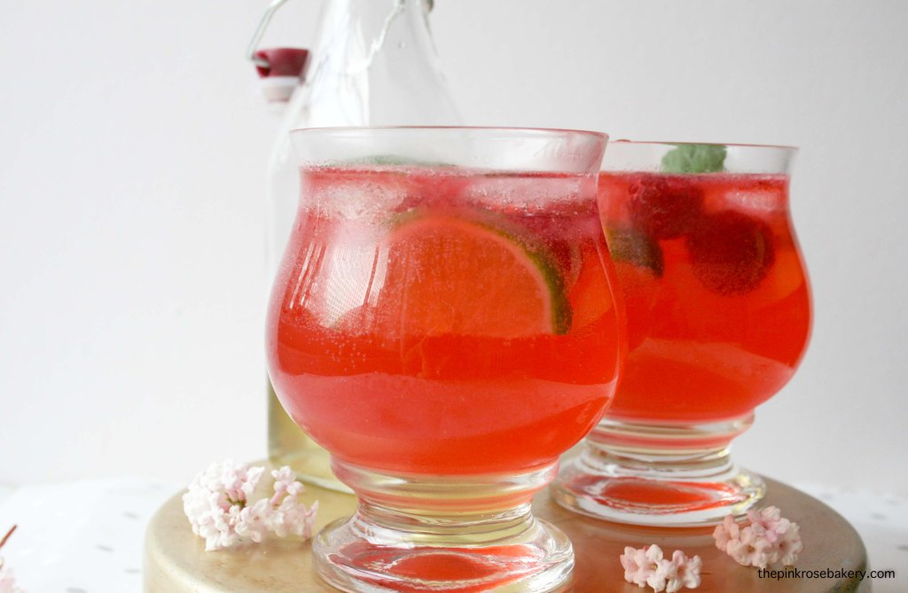 Raspberry Gin Cocktail - mint syrup, muddled raspberries, gin & tonic water | The Pink Rose Bakery