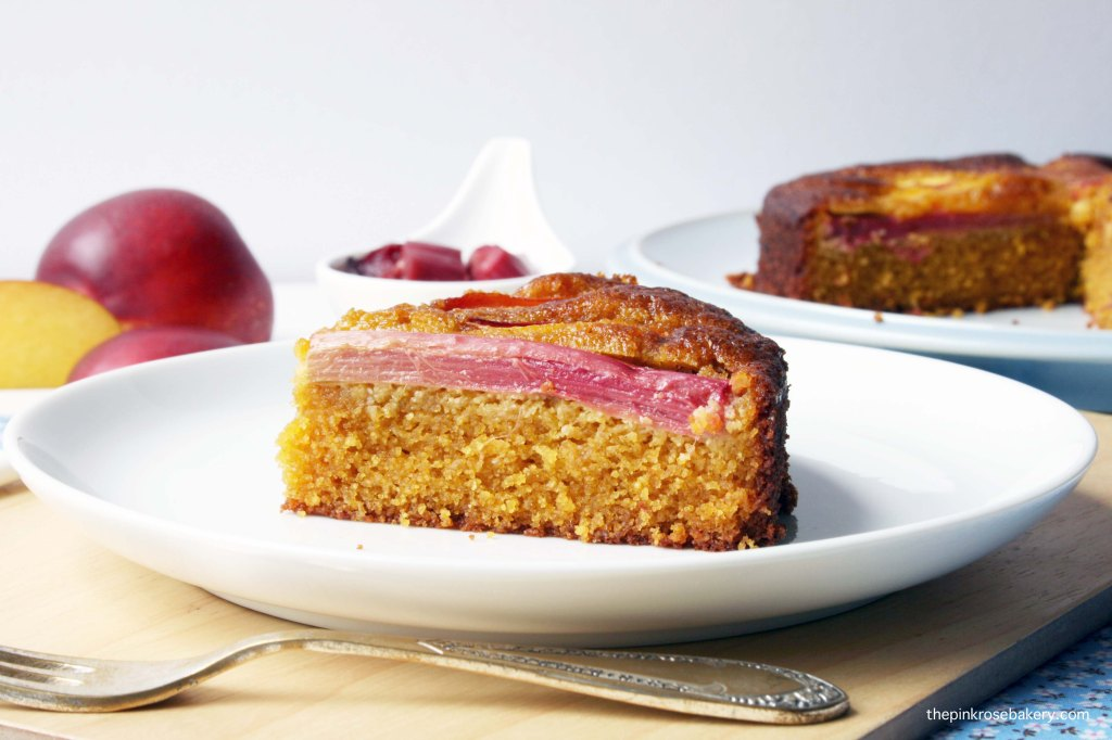 Rhubarb & Nectarine Cake {gluten free and dairy free} | The Pink Rose Bakery