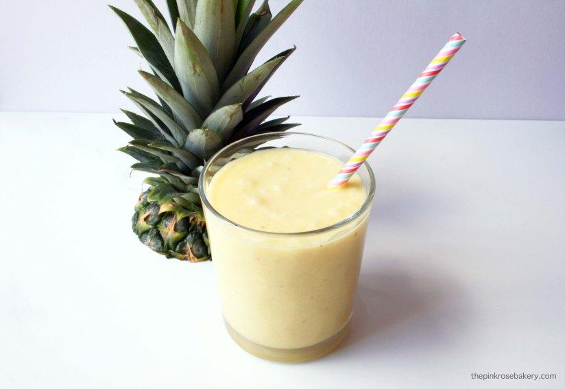 Pineapple & Mango Coconut Milkshake {dairy free} | The Pink Rose Bakery
