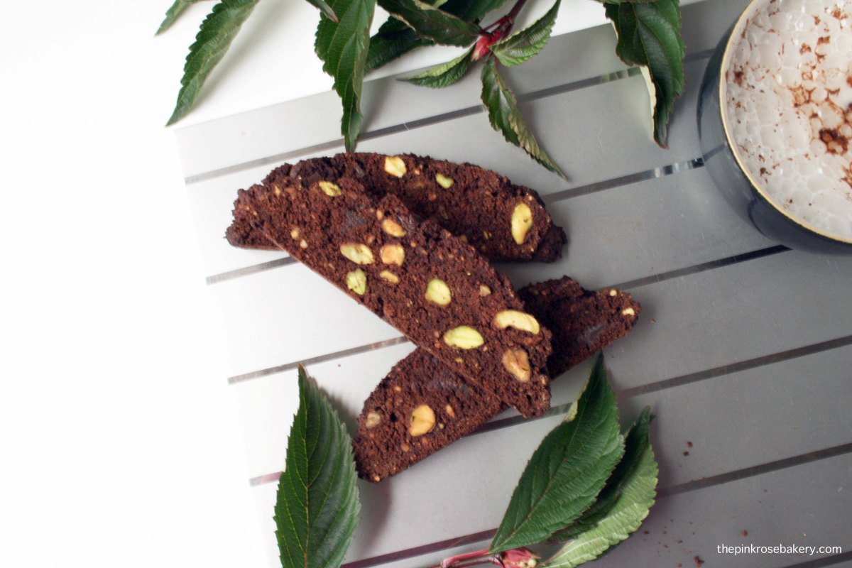 Chocolate & Pistachio Biscotti | The Pink Rose Bakery
