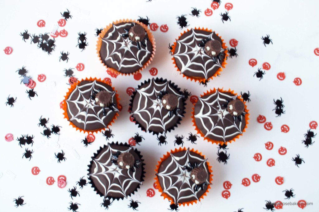Spider's Web Halloween Cupcakes complete with mini peanut butter cup spider {gluten free} | The Pink Rose Bakery