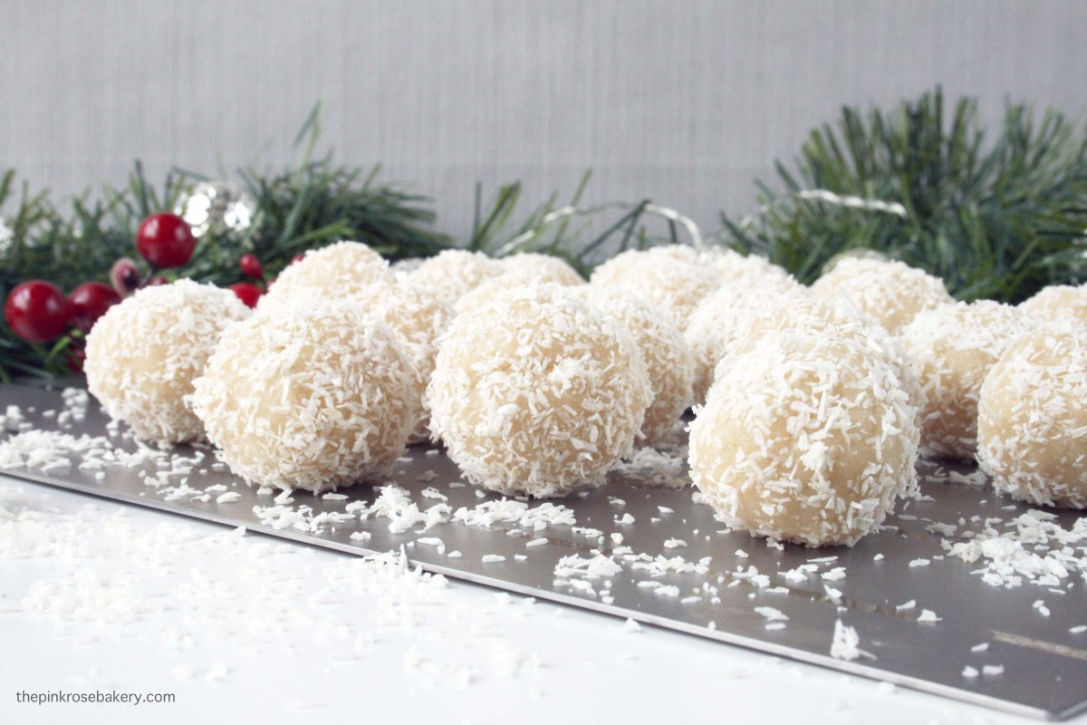Almond & Coconut Snowballs – The Pink Rose Bakery
